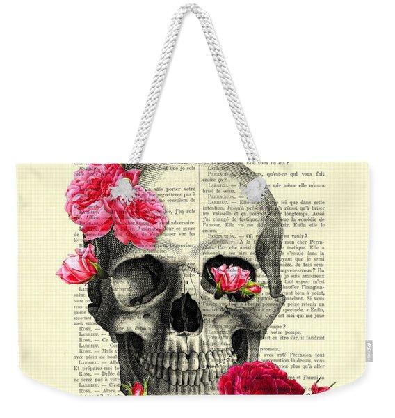 Skull And Pink Roses Weekender Tote Bag