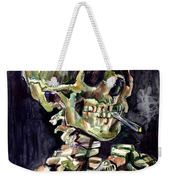 Skull Of A Skeleton With Burning Cigarette Weekender Tote Bag