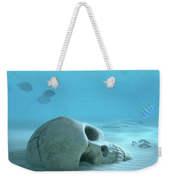Skull On Sandy Ocean Bottom Weekender Tote Bag