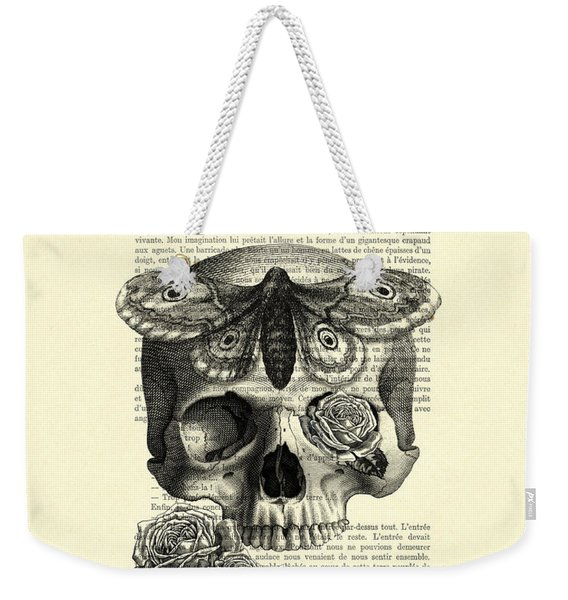 Skull With Hawkmoth Black And White Weekender Tote Bag