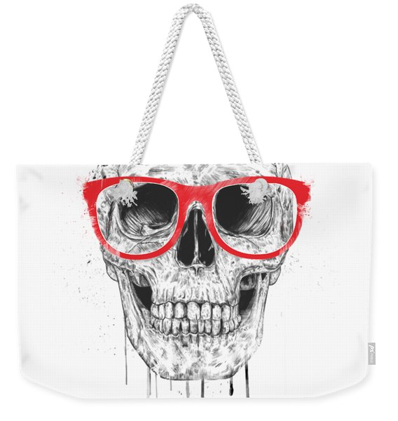 Skull With Red Glasses Weekender Tote Bag