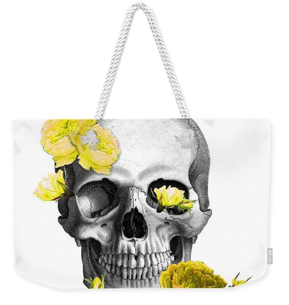 Skull Yellow Roses Weekender Tote Bag