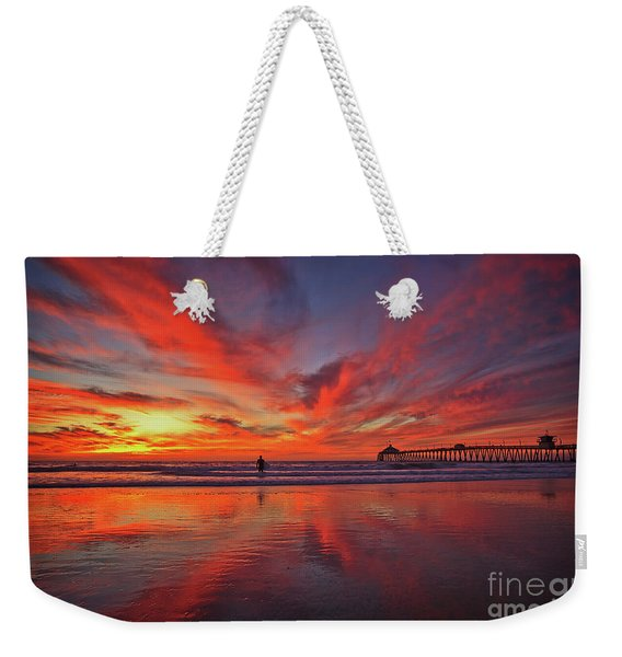 Sky On Fire At The Imperial Beach Pier Weekender Tote Bag