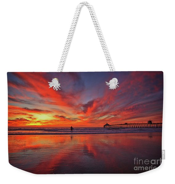 Weekender Tote Bag featuring the photograph Sky On Fire At The Imperial Beach Pier by Sam Antonio Photography