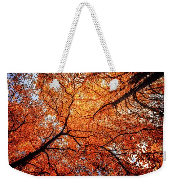 Sky Roots In Forest Red Weekender Tote Bag