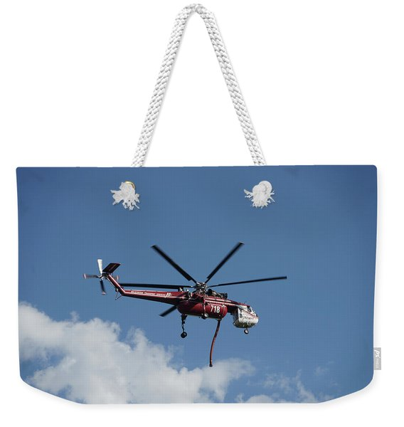 Skycrane Works The Red Canyon Fire Weekender Tote Bag