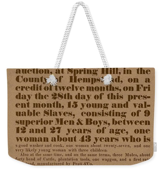 Slave Auction Weekender Tote Bag