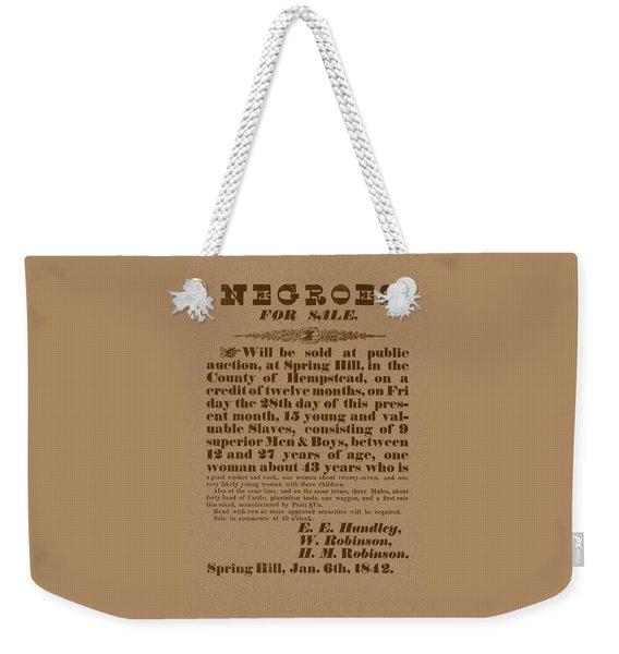 Slave Auction Weekender Tote Bag