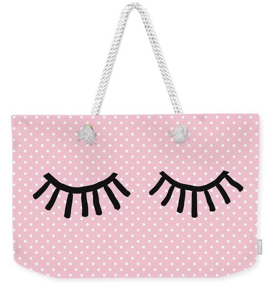Sleepy Eyes And Polka Dots- Art By Linda Woods Weekender Tote Bag