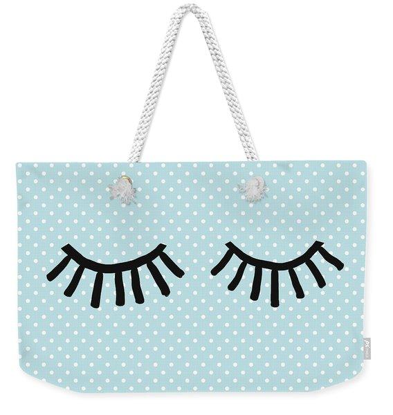 Sleepy Eyes And Polka Dots Blue- Art By Linda Woods Weekender Tote Bag