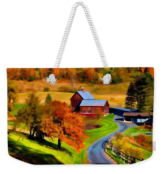 Weekender Tote Bag featuring the photograph Digital Painting Of Sleepy Hollow Farm by Jeff Folger