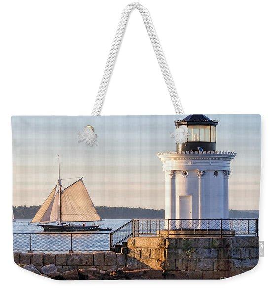 Sloop And Lighthouse, South Portland, Maine  -56170 Weekender Tote Bag