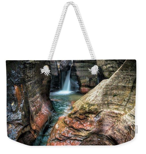 Slot Canyon Waterfall At Zion National Park Weekender Tote Bag