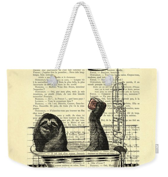 Sloth, Funny Children's Art, Bathroom Decor Weekender Tote Bag