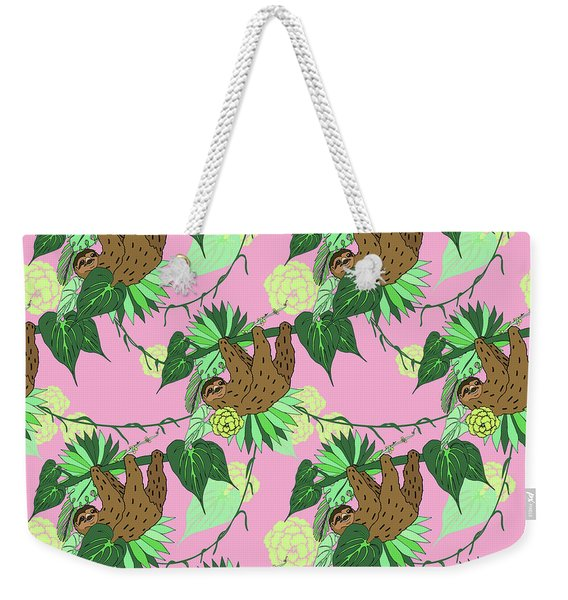 Sloth - Green On Pink Weekender Tote Bag