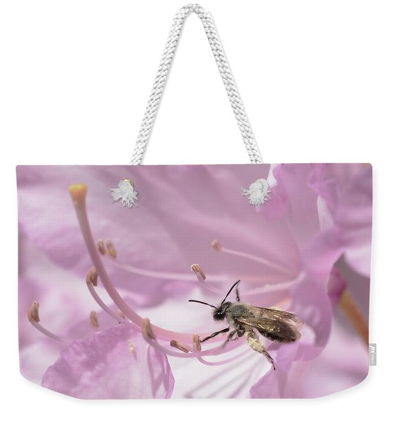 Small Bee On Rhododendron Flower Weekender Tote Bag