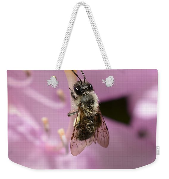 Small Bee On Rhododendron Pistil Weekender Tote Bag