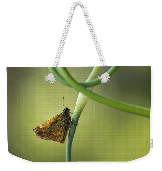 Small Butterfly Sitting On Garlic Flower Weekender Tote Bag