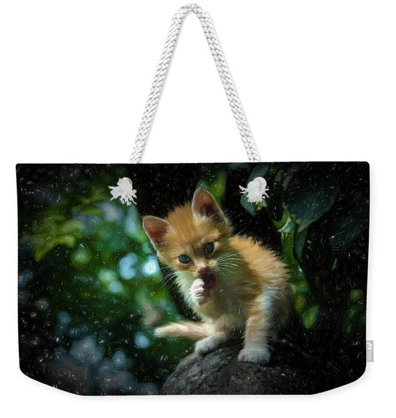 Small Cat On The Tree Weekender Tote Bag