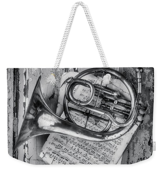 Small French Horn Black And White Weekender Tote Bag