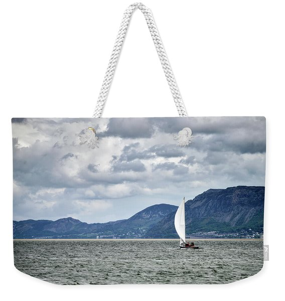 Small Leisure Sailing Boat On Menai Straits In Anglesey Wales Wi Weekender Tote Bag
