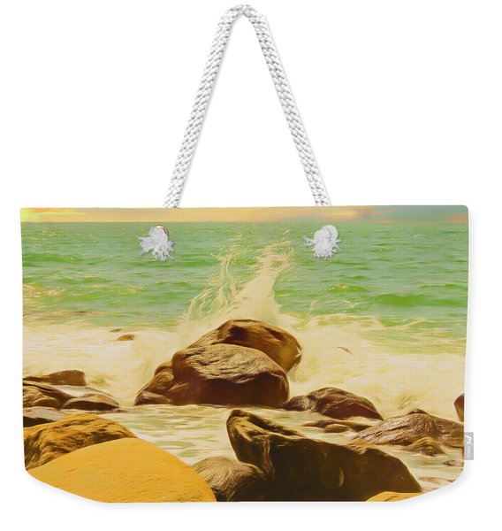 Small Ocean Waves,large Rocks. Weekender Tote Bag