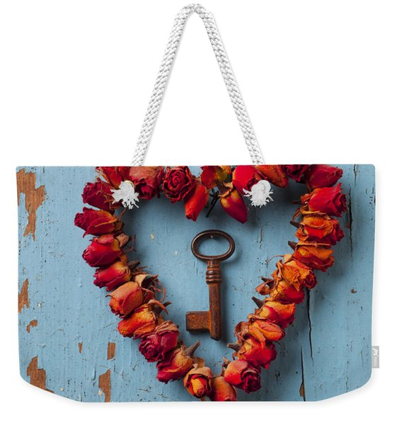 Small Rose Heart Wreath With Key Weekender Tote Bag