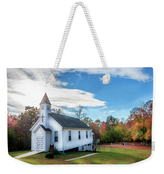 Small Wooden Church In The Countryside During Autumn Weekender Tote Bag