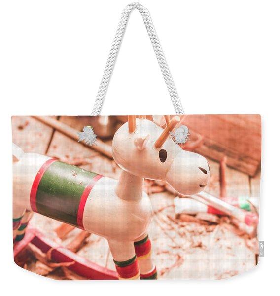 Small Xmas Reindeer On Wood Shavings In Workshop Weekender Tote Bag