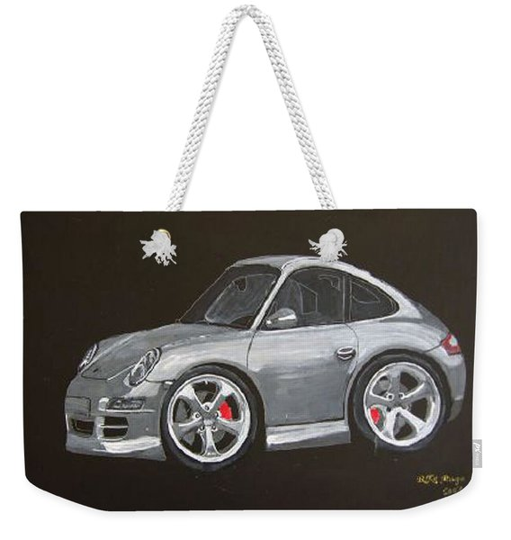 Weekender Tote Bag featuring the painting Smart Porsche by Richard Le Page