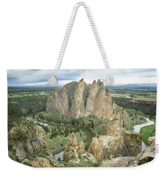 Weekender Tote Bag featuring the photograph Smith Rock From Misery Ridge by Tim Newton