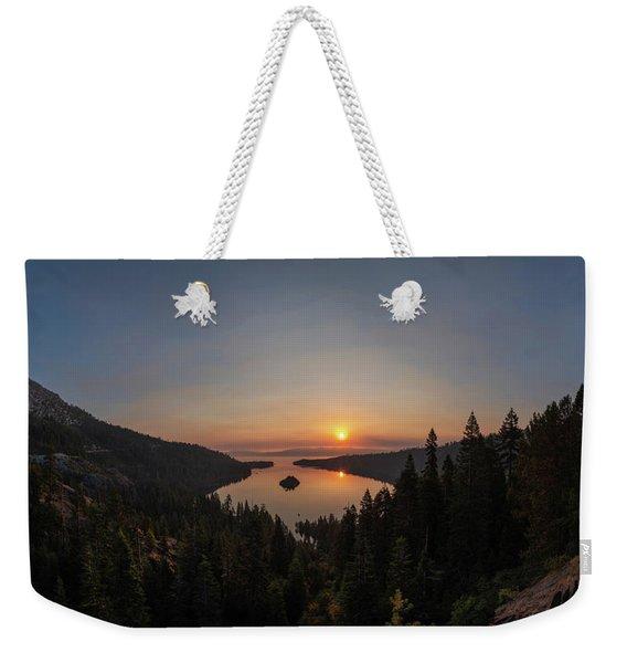 Smokey Sunrise At Emerald Bay Weekender Tote Bag
