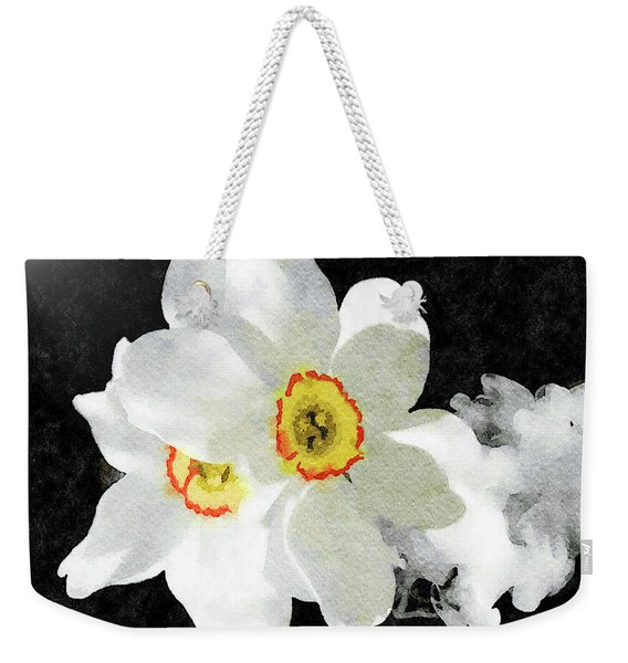 Smokey White Floral Weekender Tote Bag