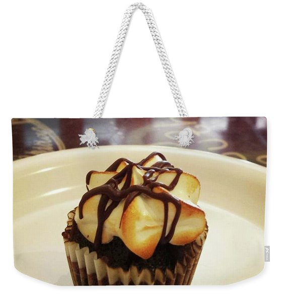 Weekender Tote Bag featuring the photograph smore Miniature Cupcake N Coffee by Mr Photojimsf