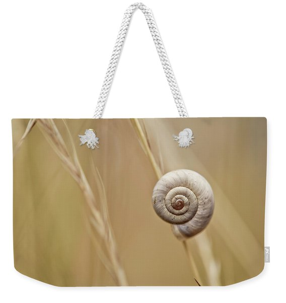 Snail On Autum Grass Blade Weekender Tote Bag