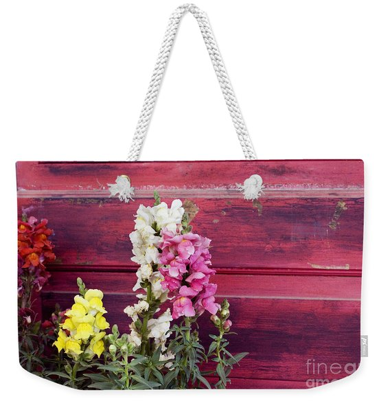 Snapdragons And Red Door Weekender Tote Bag