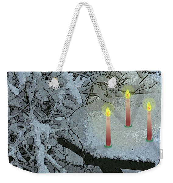 Snow And Candlelight Weekender Tote Bag