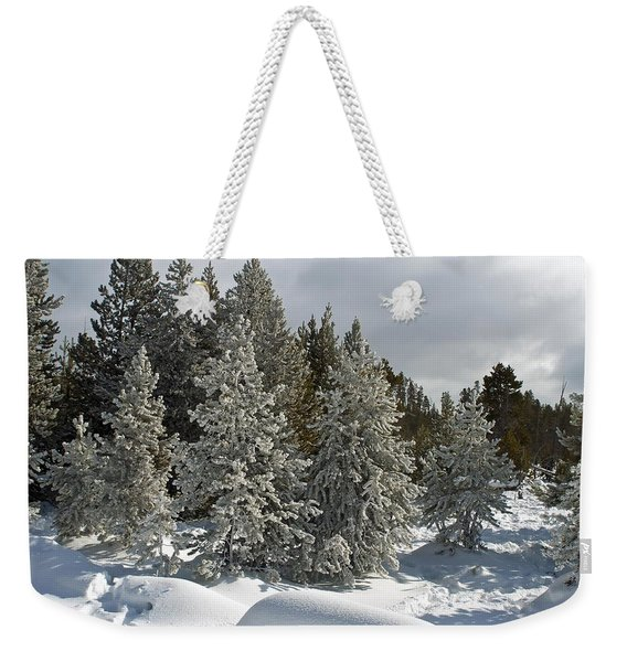 Snow And Ice Covered Evergreens At Sunset Lake  Weekender Tote Bag