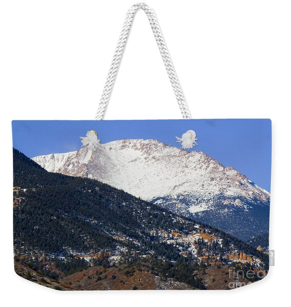 Snow Capped Pikes Peak In Winter Weekender Tote Bag