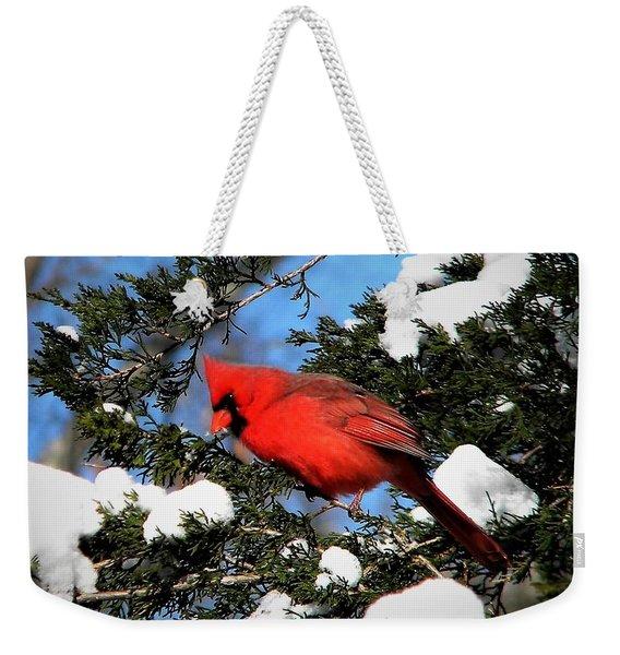 Snow Cardinal Weekender Tote Bag