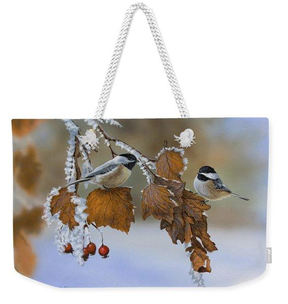 Snow Chickadees Weekender Tote Bag
