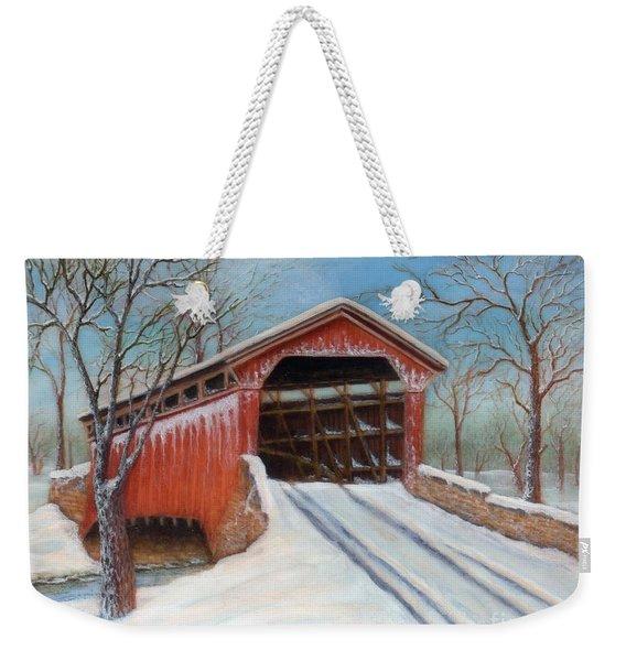 Snow Covered Bridge Weekender Tote Bag