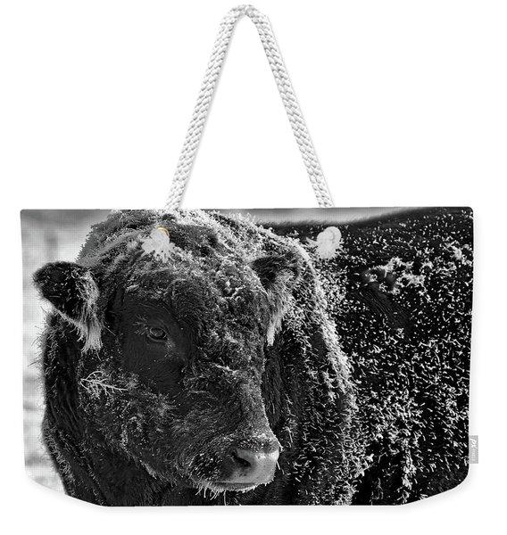 Snow Covered Ice Bull Weekender Tote Bag