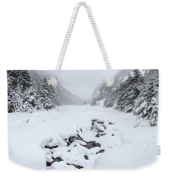 Snow Covered Lake Weekender Tote Bag