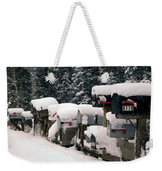 Snow Covered Mailboxes Weekender Tote Bag