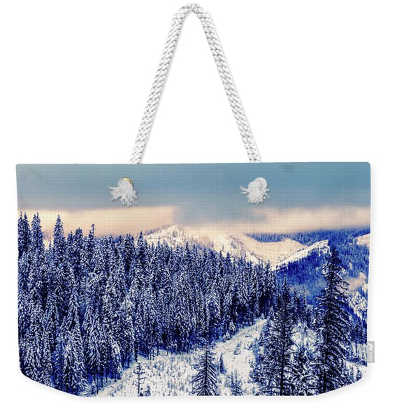 Snow Covered Mountains Weekender Tote Bag
