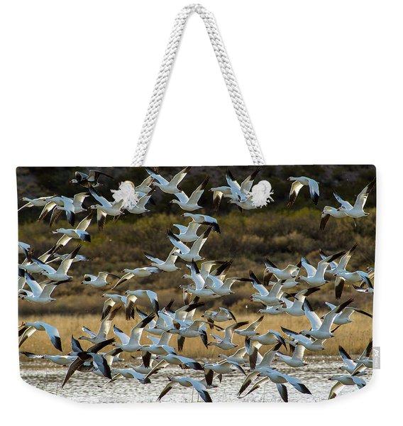 Snow Geese Flock In Flight Weekender Tote Bag