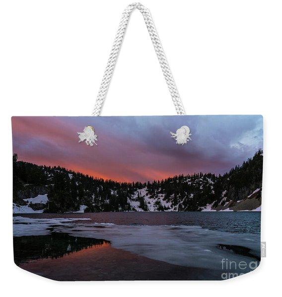Snow Lake Icy Sunrise Fire Weekender Tote Bag