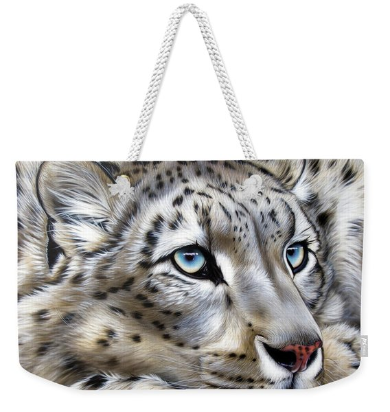 Weekender Tote Bag featuring the painting Snow-leopard's Dream by Sandi Baker