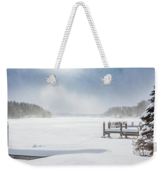 Snow On Lake Charlevoix Weekender Tote Bag